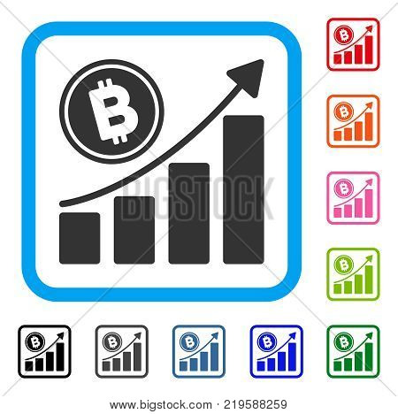 Bitcoin Growth Trend icon. Flat grey pictogram symbol inside a blue rounded square. Black, gray, green, blue, red, orange color versions of Bitcoin Growth Trend vector.