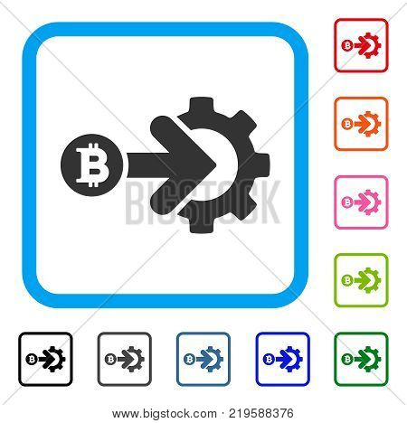 Bitcoin Integration Gear icon. Flat grey pictogram symbol in a blue rounded frame. Black, gray, green, blue, red, orange color additional versions of Bitcoin Integration Gear vector.