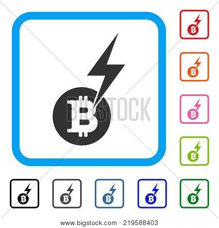 Bitcoin Lightning Strike icon. Flat grey iconic symbol inside a blue rounded frame. Black, gray, green, blue, red, orange color variants of Bitcoin Lightning Strike vector.