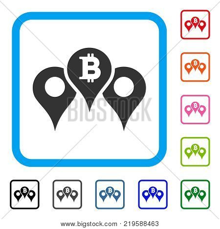 Bitcoin Map Pointers icon. Flat gray iconic symbol in a blue rounded rectangle. Black, gray, green, blue, red, orange color versions of Bitcoin Map Pointers vector. Designed for web and software UI.