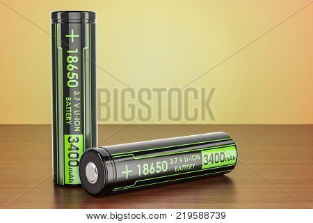 18650 Rechargeable Li-ion Batteries on the wooden table 3D rendering