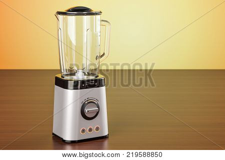 Electric blender on the wooden table. 3D rendering