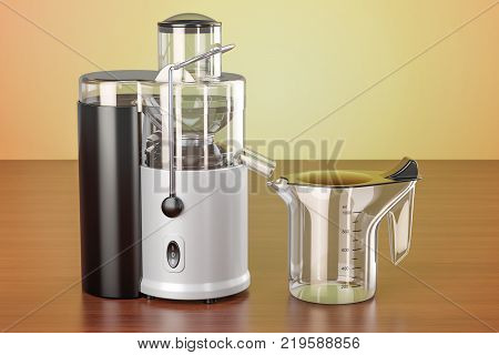 Electric juicer on the wooden table. 3D rendering