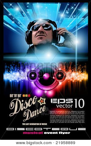 Disco Music Flyer with Disk Jockey Shape and Rainbow lights. Ready for Poster of night event.