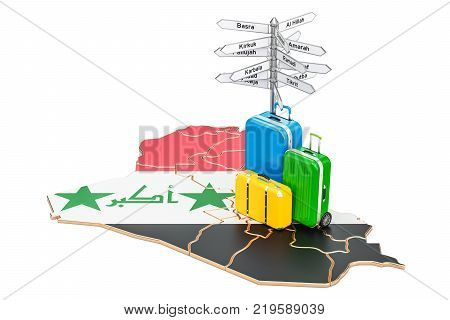 Iraq travel concept. Iraqi map with suitcases and signpost 3D rendering