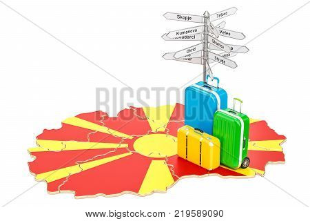 Macedonia travel concept. Macedonian map with suitcases and signpost 3D rendering
