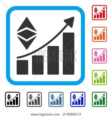 Classic Ethereum Growth Trend icon. Flat gray pictogram symbol in a blue rounded frame. Black, gray, green, blue, red, orange color additional versions of Classic Ethereum Growth Trend vector.