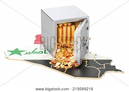 Safe box with golden coins on the map of Iraq 3D rendering isolated on white background
