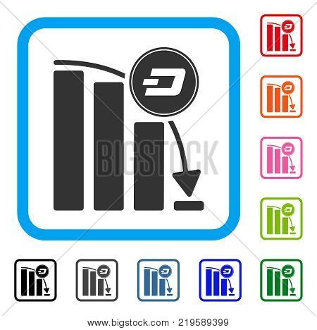 Dashcoin Epic Fail Chart icon. Flat grey iconic symbol in a blue rounded frame. Black, gray, green, blue, red, orange color versions of Dashcoin Epic Fail Chart vector.