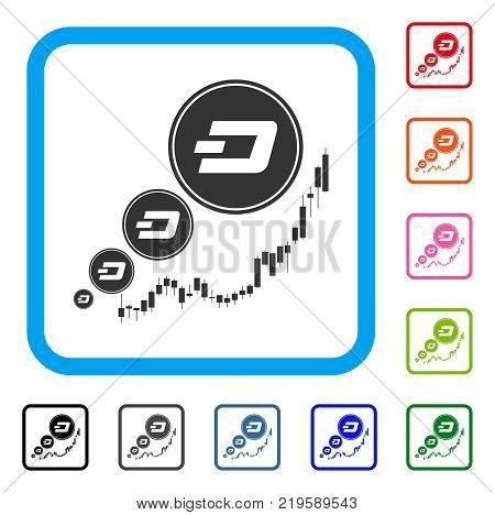 Dashcoin Inflation Chart icon. Flat grey pictogram symbol in a blue rounded frame. Black, gray, green, blue, red, orange color additional versions of Dashcoin Inflation Chart vector.