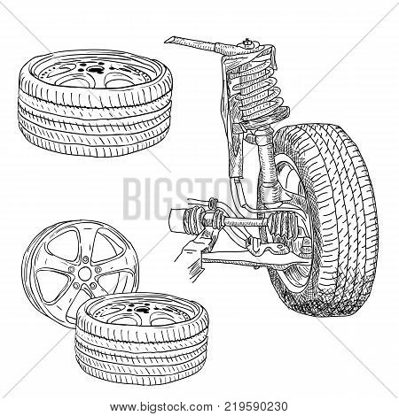 race car shock absorber and wheel a Vector illustration.