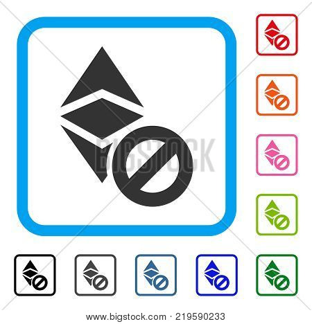 Forbidden Ethereum Classic icon. Flat grey pictogram symbol inside a blue rounded square. Black, gray, green, blue, red, orange color variants of Forbidden Ethereum Classic vector.