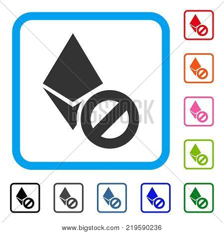 Forbidden Ethereum Crystal icon. Flat grey iconic symbol inside a blue rounded squared frame. Black, gray, green, blue, red, orange color variants of Forbidden Ethereum Crystal vector.