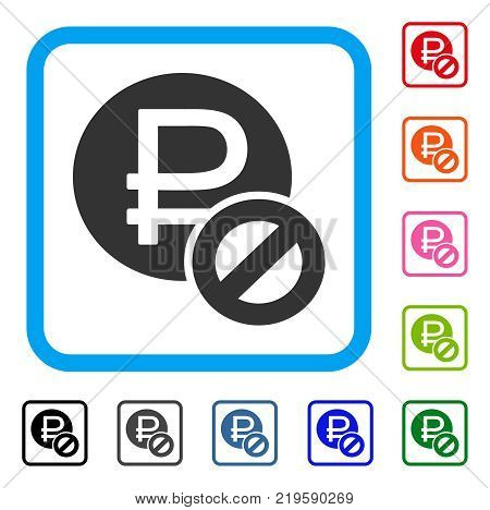 Forbidden Rouble icon. Flat grey pictogram symbol inside a blue rounded square. Black, gray, green, blue, red, orange color additional versions of Forbidden Rouble vector.