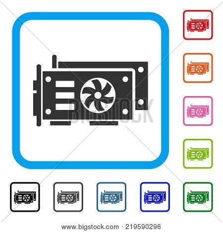 Gpu Video Cards icon. Flat grey iconic symbol in a blue rounded rectangle. Black, gray, green, blue, red, orange color additional versions of Gpu Video Cards vector. Designed for web and software UI.