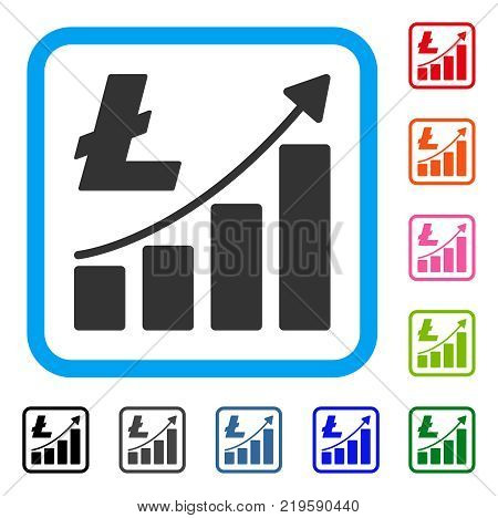 Litecoin Growth Graph icon. Flat grey pictogram symbol in a blue rounded frame. Black, gray, green, blue, red, orange color variants of Litecoin Growth Graph vector.