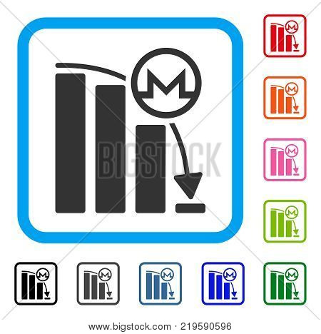 Monero Falling Acceleration Graph icon. Flat gray pictogram symbol inside a blue rounded rectangle. Black, gray, green, blue, red,