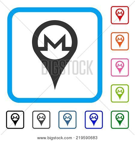 Monero Map Pointer icon. Flat grey pictogram symbol inside a blue rounded rectangular frame. Black, gray, green, blue, red, orange color additional versions of Monero Map Pointer vector.