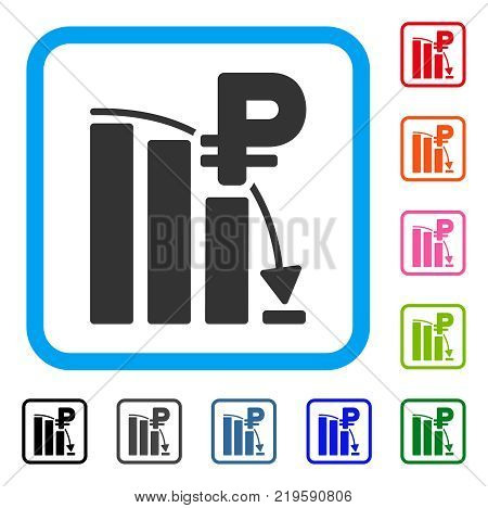 Rouble Panic Fall Chart icon. Flat gray pictogram symbol inside a blue rounded square. Black, gray, green, blue, red, orange color versions of Rouble Panic Fall Chart vector.