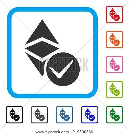 Valid Ethereum Classic icon. Flat gray pictogram symbol inside a blue rounded square. Black, gray, green, blue, red, orange color additional versions of Valid Ethereum Classic vector.