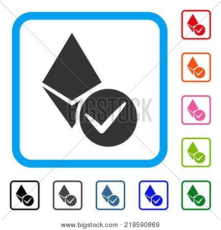 Valid Ethereum Crystal icon. Flat grey pictogram symbol in a blue rounded square. Black, gray, green, blue, red, orange color versions of Valid Ethereum Crystal vector.