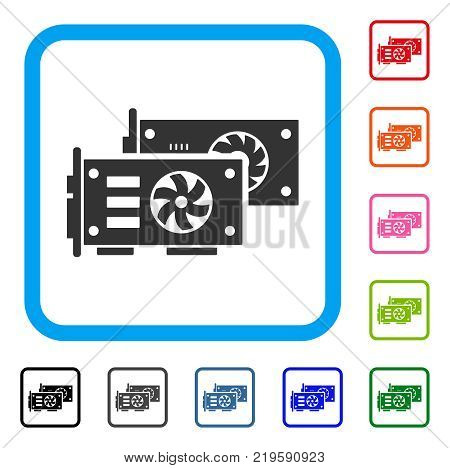 Video Graphics Gpu Cards icon. Flat gray pictogram symbol in a blue rounded rectangular frame. Black, gray, green, blue, red, orange color variants of Video Graphics Gpu Cards vector.