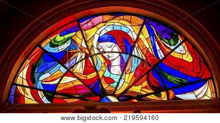 FATIMA, PORTUGAL - SEPTEMBER 17, 2017 Mary Stars Stained Glass Basilica of Lady of Rosary Fatima Portugal. Church created on site where three Portuguese Shepherd children saw Virgin Mary of the Rosary. Basilica created in 1953.
