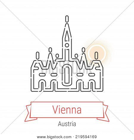 Vienna, Austria Vector Line Icon with Red Ribbon Isolated on White. Vienna Landmark - Emblem - Print - Label - Symbol. Vienna City Hall Pictogram. World Cities Collection.