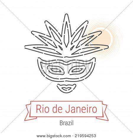 Rio de Janeiro, Brazil Vector Line Icon with Red Ribbon Isolated on White. Rio de Janeiro Landmark - Emblem - Print - Label - Symbol. Rio Carnival Mask Pictogram. World Cities Collection.
