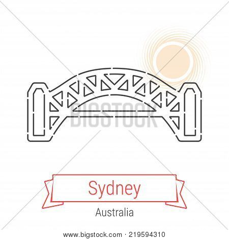 Sydney, Australia Vector Line Icon with Red Ribbon Isolated on White. Sydney Landmark - Emblem - Print - Label - Symbol. Sydney Harbour Bridge Pictogram. World Cities Collection.