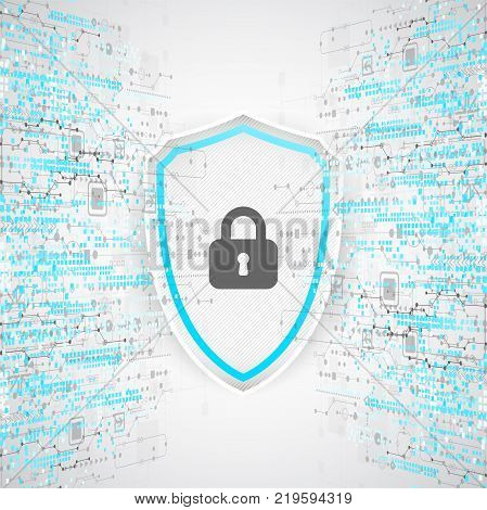 Protection Background. Technology Security, Encode And Decrypt.