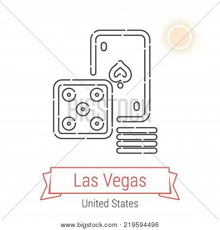 Las Vegas, United States Vector Line Icon with Red Ribbon Isolated on White. Las Vegas Landmark - Emblem - Print - Label - Symbol. Casino, Games of Chance Pictogram. World Cities Collection.