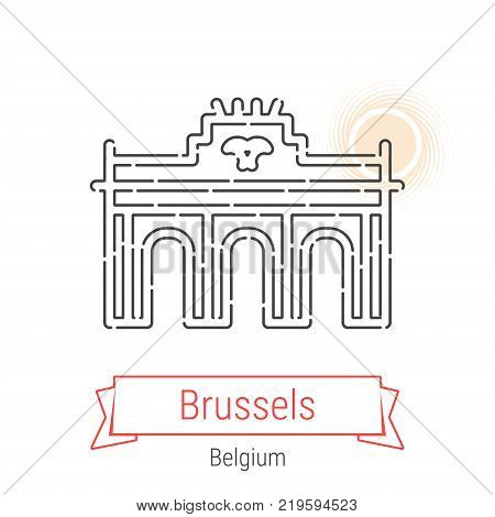 Brussels, Belgium Vector Line Icon with Red Ribbon Isolated on White. Brussels Landmark - Emblem - Print - Label - Symbol. Brussels Brandenburg Gate Pictogram. World Cities Collection.