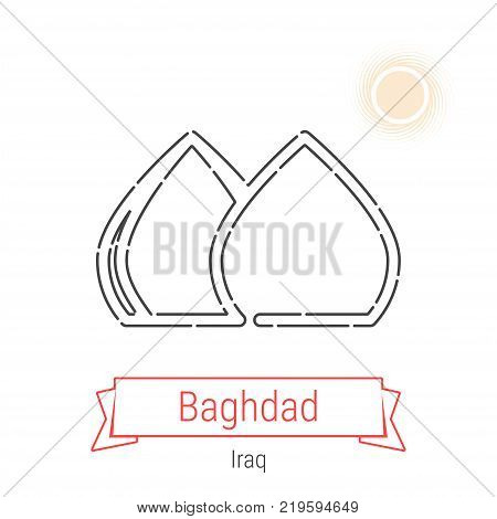 Baghdad, Iraq Vector Line Icon with Red Ribbon Isolated on White. Baghdad Landmark - Emblem - Print - Label - Symbol. Martyr's Monument Pictogram. World Cities Collection.