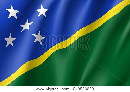 Flag Solomon islands national flag. Patriotic symbol in official country colors. Illustration of Oceania state flag. Vector realistic icon