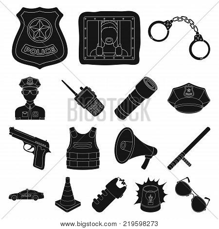 Police, Department black icons in set collection for design.Detective and accessories vector symbol stock  illustration.