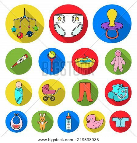 Birth of a baby flat icons in set collection for design. Newborn and accessories vector symbol stock  illustration.
