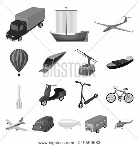 Different types of transport monochrome icons in set collection for design. Car and ship vector symbol stock  illustration.