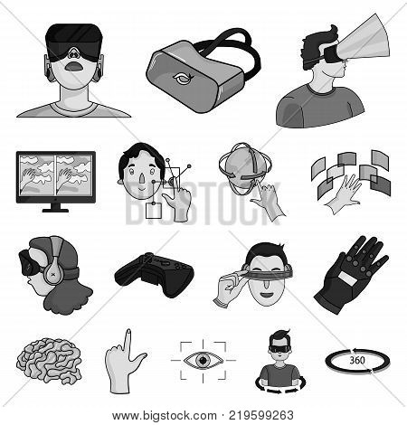 A virtual reality monochrome icons in set collection for design. Modern technology and equipment vector symbol stock  illustration.