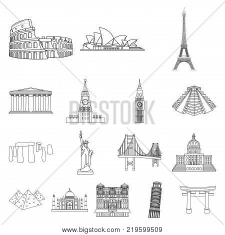 Sights of different countries outline icons in set collection for design. Famous building vector symbol stock  illustration.