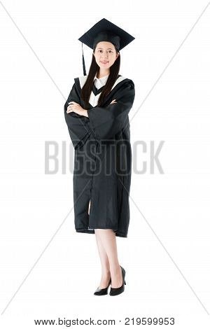 Beauty Cheerful Female Student Getting Graduation