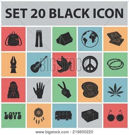 Happy and attribute black icons in set collection for design. Happy and accessories vector symbol stock  illustration.
