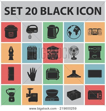 Types of household appliances black icons in set collection for design.Kitchen equipment vector symbol stock  illustration.