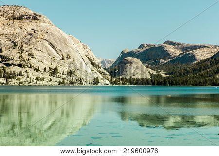 Tenaya Lake Reflections. Yosemite National Park, Mariposa County, California, USA.