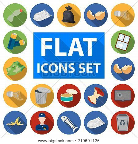 Garbage and waste flat icons in set collection for design. Cleaning garbage vector symbol stock  illustration.