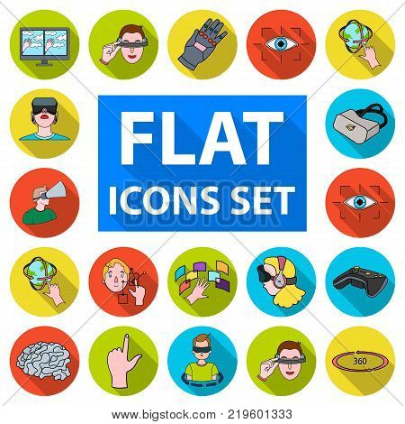 A virtual reality flat icons in set collection for design. Modern technology and equipment vector symbol stock  illustration.