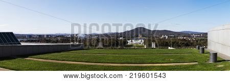 A Panorama of the Canberra City skyline from the new parliament house ACT Australia