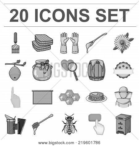Apiary and beekeeping monochrome icons in set collection for design.Equipment and production of honey vector symbol stock  illustration.