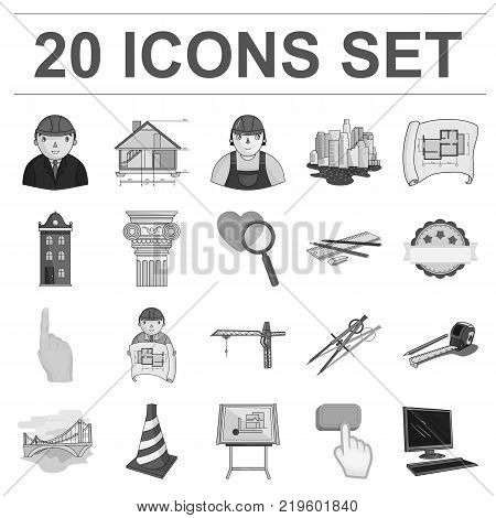 Architecture and construction monochrome icons in set collection for design. Architect and equipment vector symbol stock  illustration.