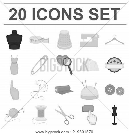 Atelier and sewing monochrome icons in set collection for design. Equipment and tools for sewing vector symbol stock  illustration.